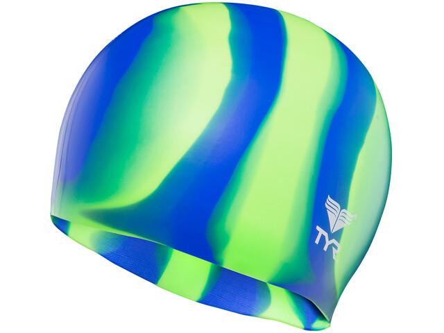 TYR Silicone - Bonnet de bain - vert/bleu